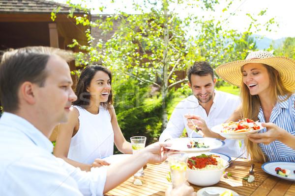 Vacsora választék olasz edények limonádé kert Stock fotó © dashapetrenko