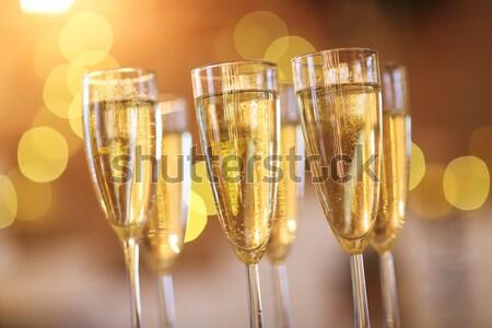 Champán gafas plata bandeja fiesta vacaciones Foto stock © dashapetrenko
