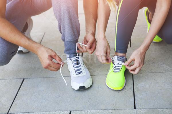 Vrouw man loopschoenen training fitness Stockfoto © dashapetrenko