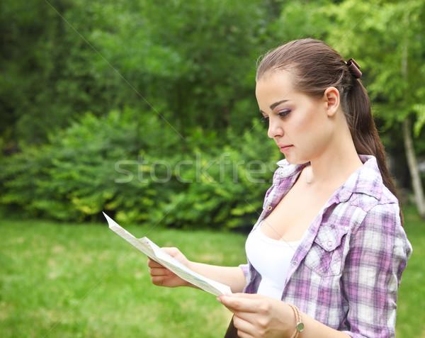 Сток-фото: девушки · карта · молодые · брюнетка