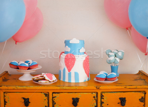 Sweet table with big cake, cupcakes, cake pops  Stock photo © dashapetrenko