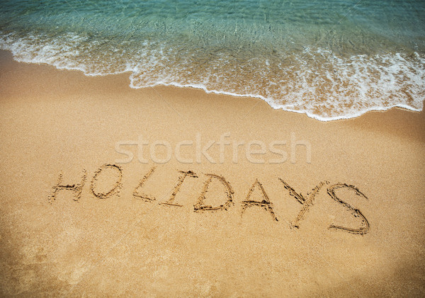 Written in sand at the beach. Holiday concept. Stock photo © dashapetrenko