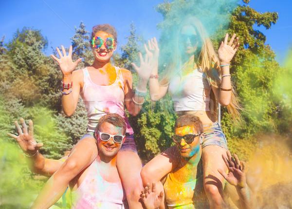 Feliz amigos color festival retrato primavera Foto stock © dashapetrenko