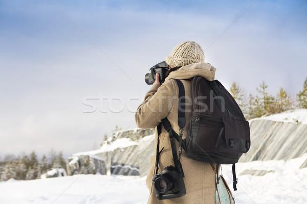 Profesyonel kadın film fotoğrafçı Rusya mermer Stok fotoğraf © dashapetrenko