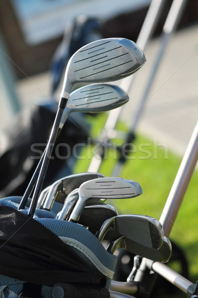 Golfütők zöld fű sport zöld klub táska Stock fotó © dashapetrenko