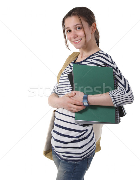 Adolescente aluna livros didáticos branco lousa livro Foto stock © dashapetrenko