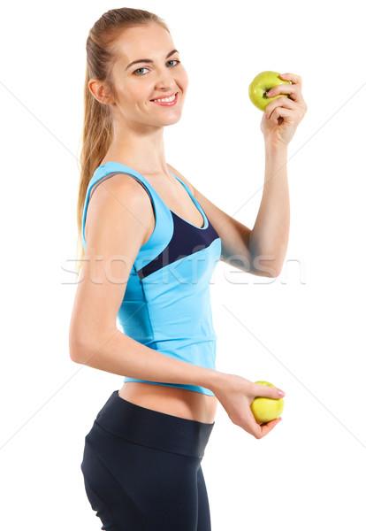 Foto stock: Mulher · da · aptidão · feliz · sorridente · verde · maçã