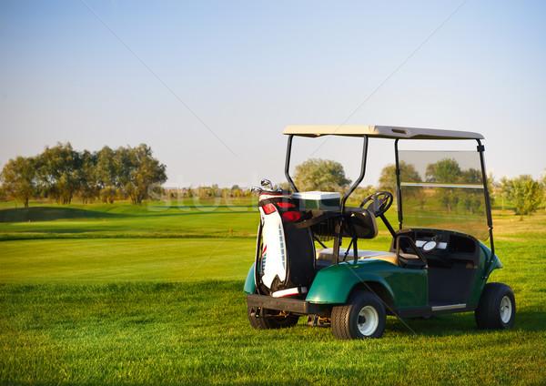 Stok fotoğraf: Golf · araba · golf · sahası · yaz · çim · gün · batımı