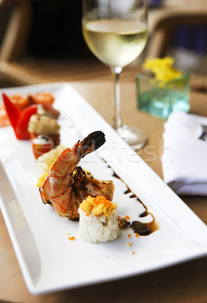 Roll set on the plate served at the restaurant  Stock photo © dashapetrenko