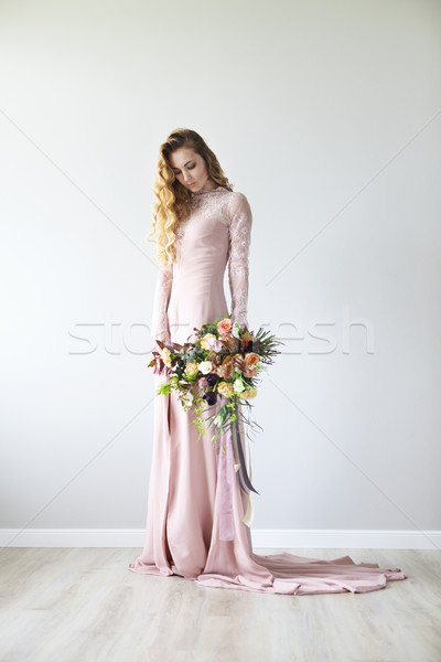 Unusual wedding stylish bouquet in hands of a bride  Stock photo © dashapetrenko