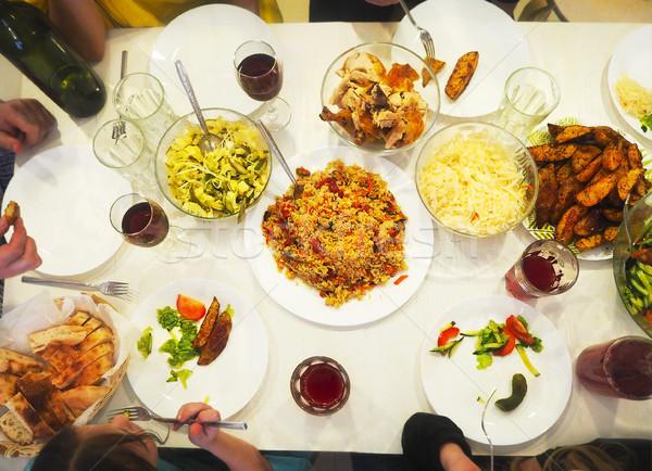 Family dinner top view Stock photo © dashapetrenko