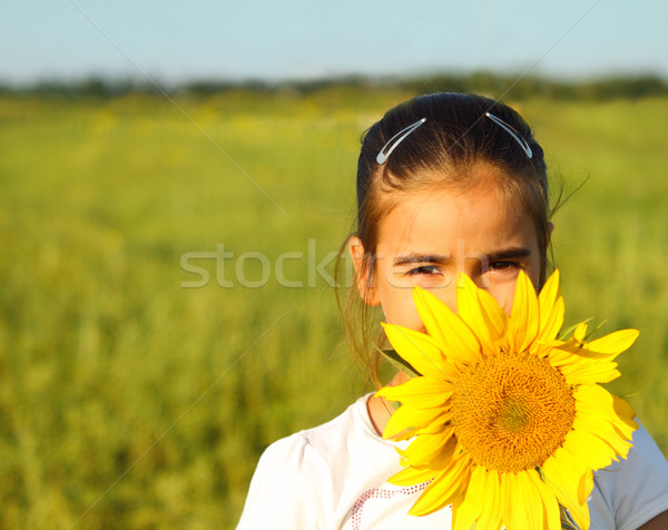 Portrait of a cute little girl hiding behind sunflower  Stock photo © dashapetrenko