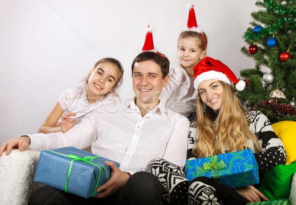 Mutlu aile noel ağacı Noel hediyeler aile kız Stok fotoğraf © dashapetrenko