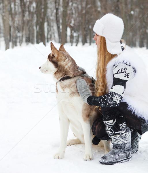 Mutlu genç kadın köpek kış park kadın Stok fotoğraf © dashapetrenko