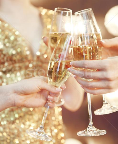 Celebration. People holding glasses of champagne making a toast Stock photo © dashapetrenko
