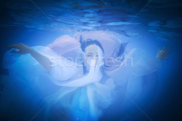 Sualtı portre kadın yüzme havuzu moda Stok fotoğraf © dashapetrenko