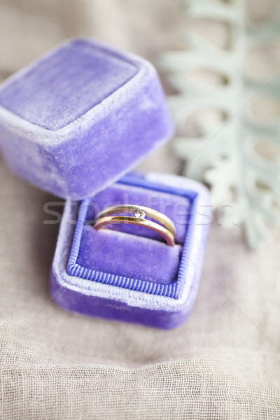 Engagement ring in the box on gray background Stock photo © dashapetrenko