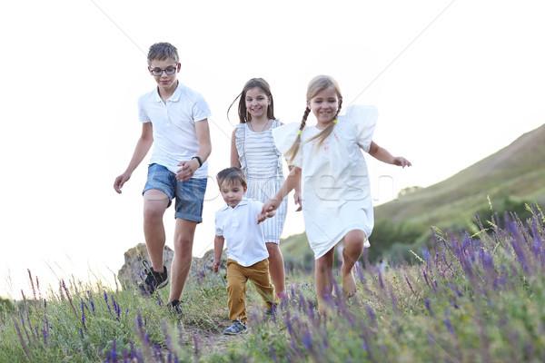 Stockfoto: Kinderen · lopen · zomer · kinderen · spelen · voorjaar · gras