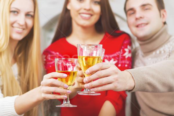 Stockfoto: Gelukkig · glimlachend · vrienden · drinken · champagne · boom