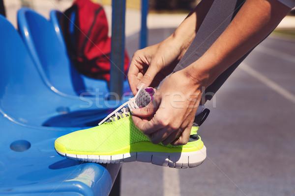 Futócipők közelkép nő cipő női sport Stock fotó © dashapetrenko