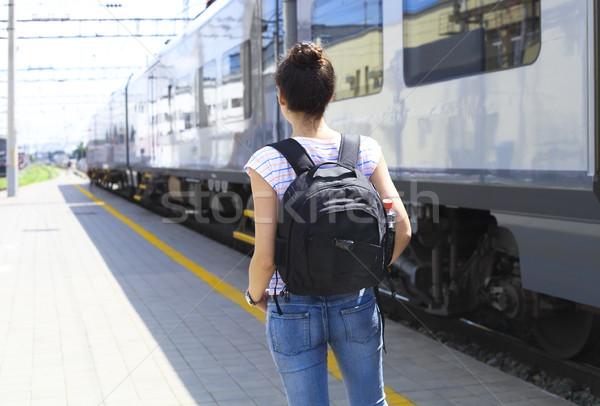 Young woman on train station.  Stock photo © dashapetrenko