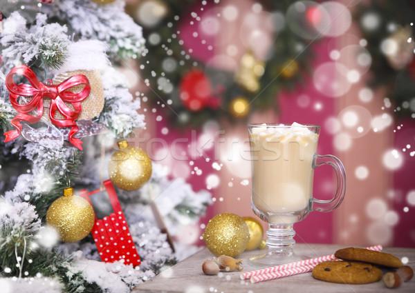 горячей какао деревенский таблице Рождества дерево Сток-фото © dashapetrenko