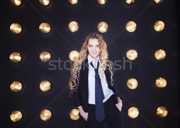 Mulher clássico terno dourado brilhante Foto stock © dashapetrenko