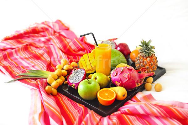 Exótico frutas bandeja comida fundo Foto stock © dashapetrenko