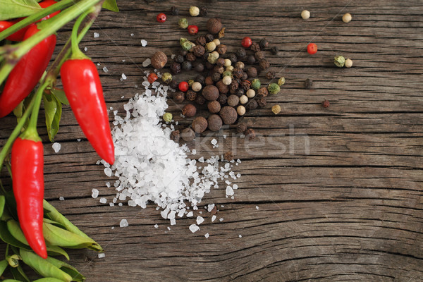 Spices over wooden background  Stock photo © dashapetrenko