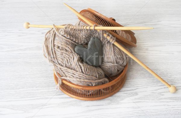 Basket for knitting Stock photo © dashapetrenko