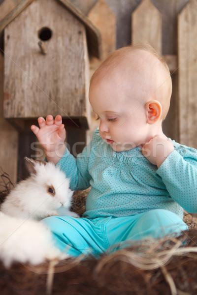 Happy little baby girl with a small white rabbit  Stock photo © dashapetrenko