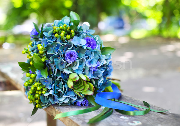 A wedding bouquet with hydrangea in blue and green colors  Stock photo © dashapetrenko