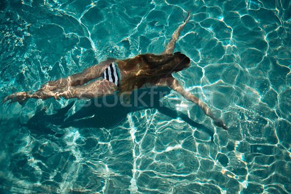 Stockfoto: Vrouw · zwemmen · Blauw · water · zwembad · zomertijd