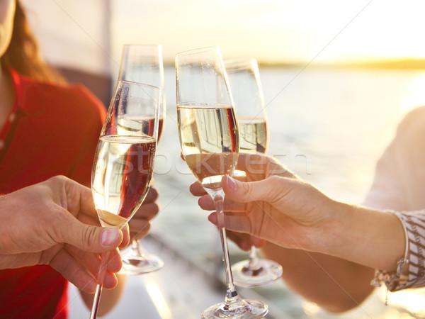 Szczęśliwy znajomych okulary szampana jacht wakacje Zdjęcia stock © dashapetrenko