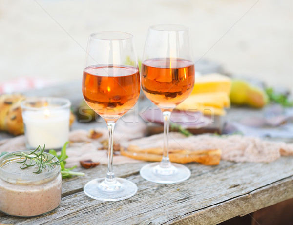 Stockfoto: Strand · picknicktafel · steeg · wijn · partij · voedsel