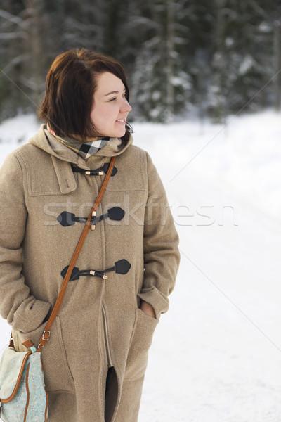 Cute young woman in wintertime outdoor Stock photo © dashapetrenko