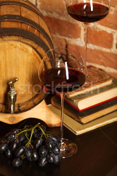 Retro still life with red wine and barrel Stock photo © dashapetrenko
