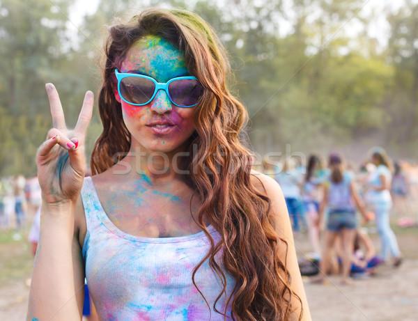 Happy young girl on holi color festival Stock photo © dashapetrenko