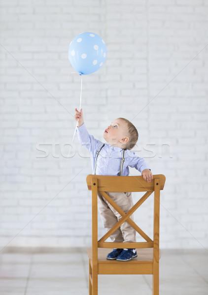 可愛 小 嬰兒 男孩 一 氣球 商業照片 © dashapetrenko
