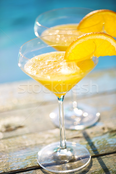 Champagne bril orange slice cocktail zomer zwembad Stockfoto © dashapetrenko