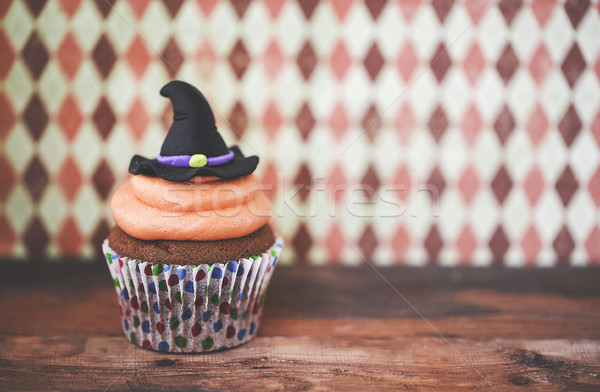 Halloween design cupcake on dark background Stock photo © dashapetrenko