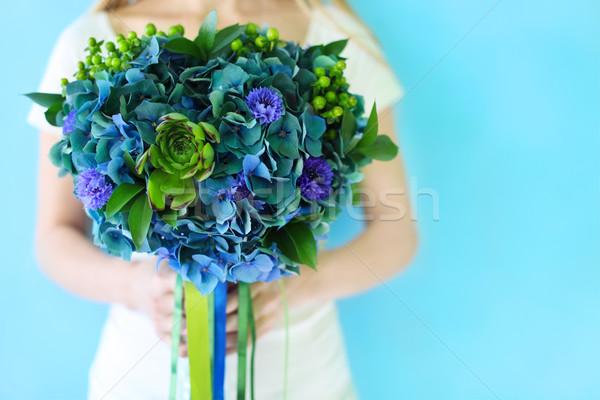 Ramo de la boda azul verde colores aire libre manos Foto stock © dashapetrenko