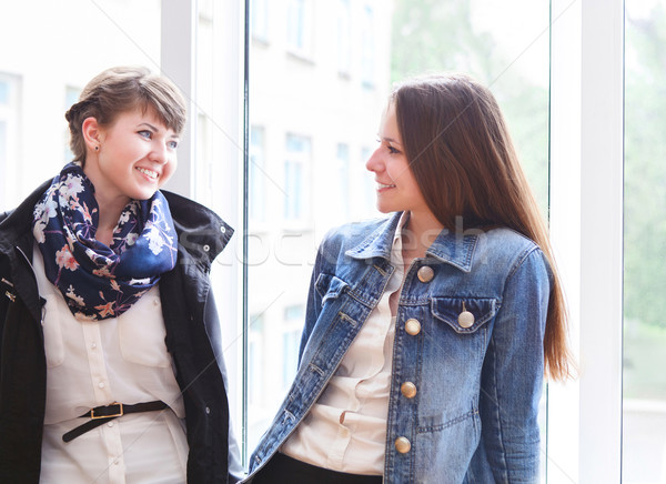 2 幸せ 女性 学生 話し ウィンドウ ストックフォト © dashapetrenko