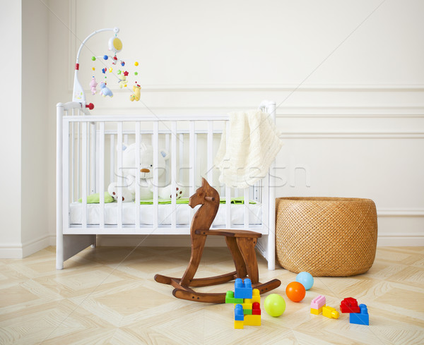Empty cozy nursery room in light tones Stock photo © dashapetrenko