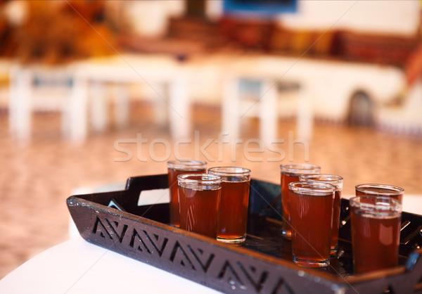 Hot tunisian tea on the tray Stock photo © dashapetrenko