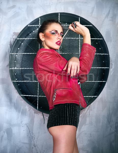 панк девушки пузыря камедь розовый Сток-фото © dashapetrenko