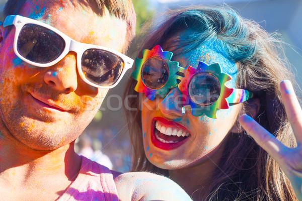 Boldog pár szeretet szín fesztivál portré Stock fotó © dashapetrenko