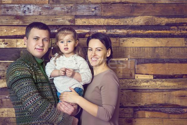 Família feliz retrato pequeno filha casa sorrir Foto stock © dashapetrenko