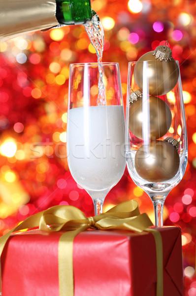 Christmas champagne Stock photo © dashapetrenko