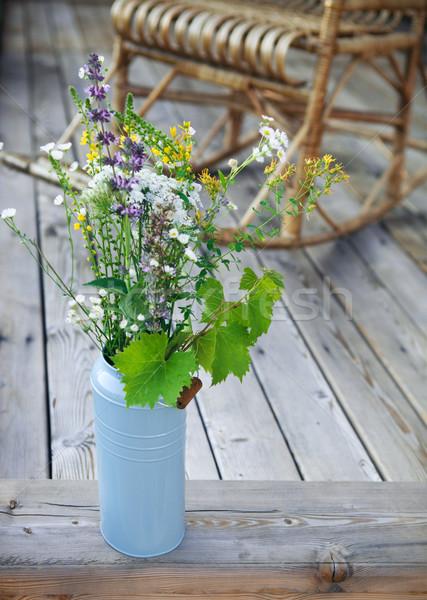 Fényes citromsárga kék virágok veranda vödör Stock fotó © dashapetrenko